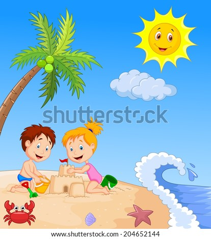 Children making sand castle at tropical beach - stock vector