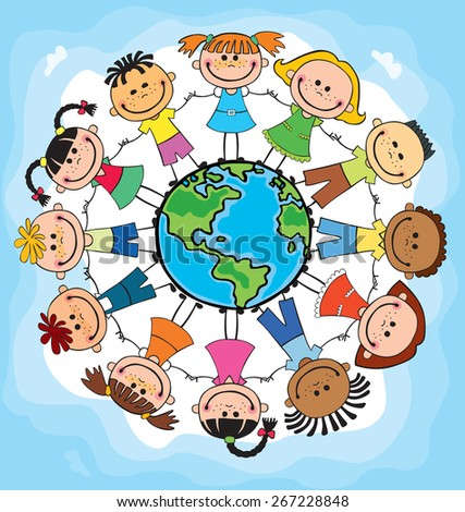 children of different nationalities around the globe,  child,  cartoon, stick, square, kid, preschooler, hands, fun, earth, community, mutual, vector, happiness, caricature, unity, friendship, - stock vector