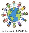 children of different races holding for hands around planet vector - stock vector