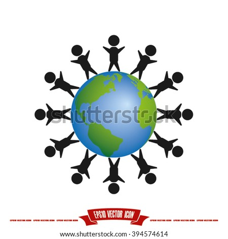 children of earth icon - stock vector