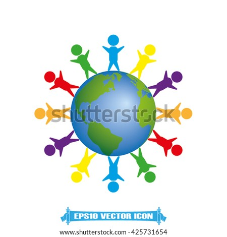 children of earth icon vector illustration eps10 - stock vector