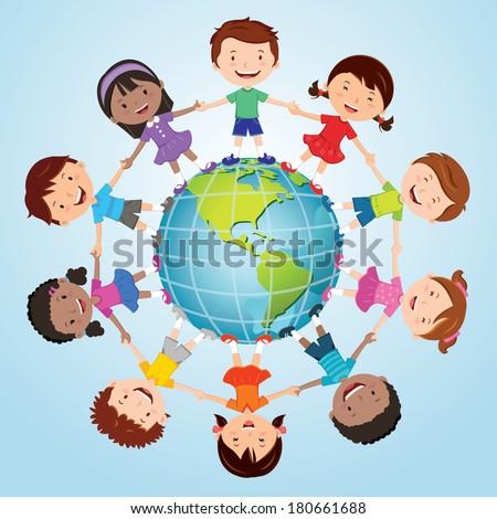 Children of the world. America globe. - stock vector