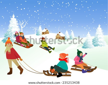 Children on a sled - stock vector