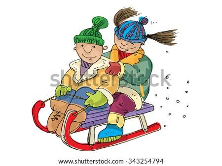 Children on a sled - cartoon - stock vector
