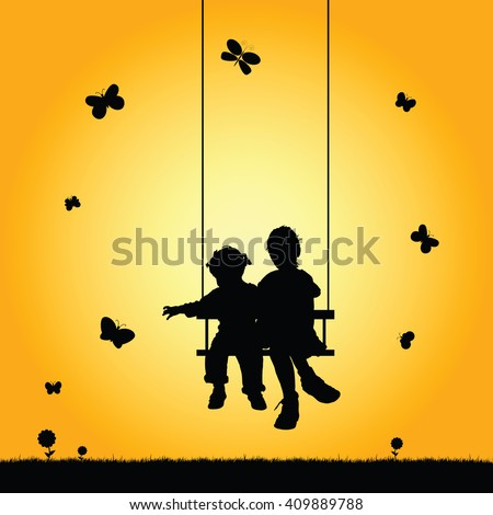 children on swing silhouette illustration in colorful - stock vector