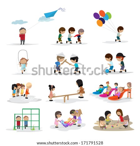 Children On The Playground - Isolated On White Background - Vector Illustration, Graphic Design Editable For Your Design  - stock vector