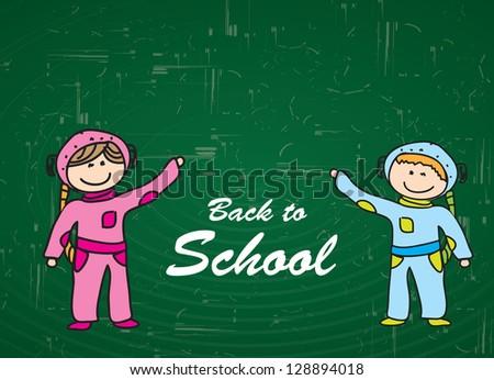 Children over blackboard background in signal of back to school - stock vector