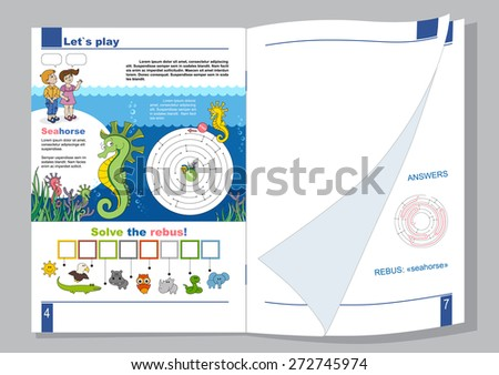 Children page A4 magazine or a book with a boy, a girl and a seahorse, with rebus and maze