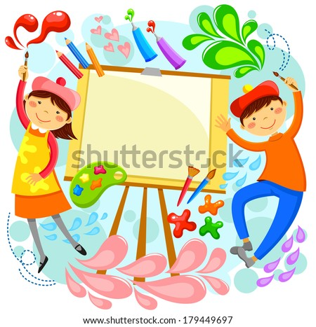 children painting around a blank canvas with space for text - Children Painting Pictures