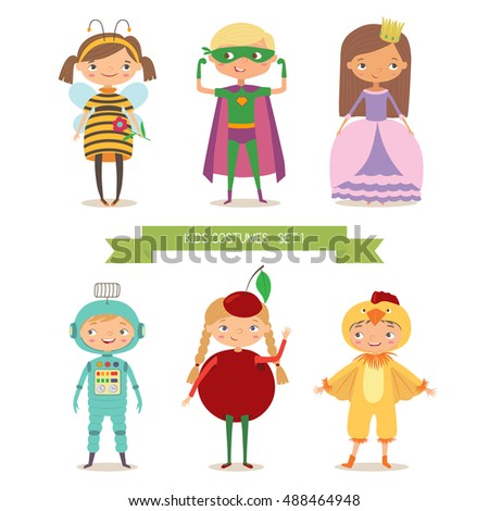 Children party costumes. Superhero, bee, princess, robot, cherry and chicken costume. Cartoon vector illustration of boys and girls in different costume