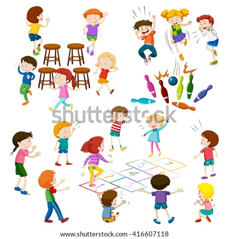 Children play different kind of games illustration - stock vector
