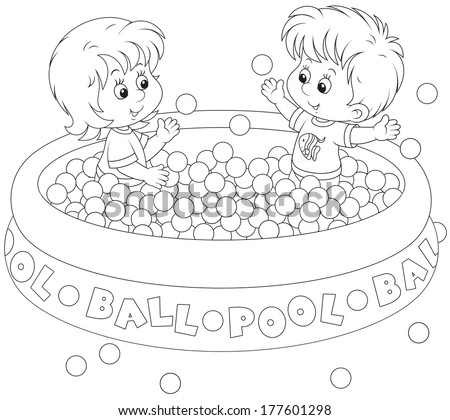 Children play in a ball pool - stock vector