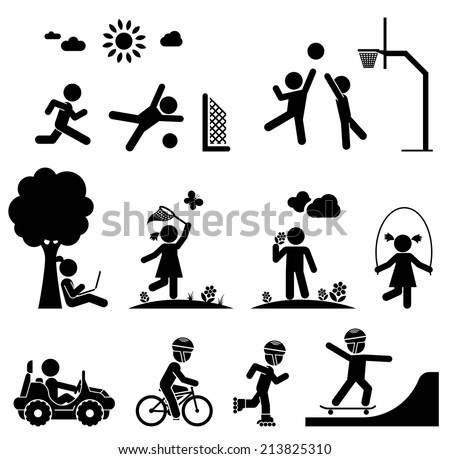 Children play on playground. Pictogram icon set. - stock vector