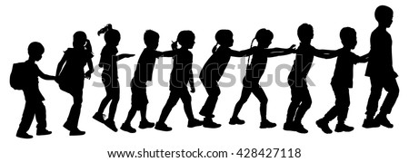 Children play train game vector silhouette illustration isolated on white background. Group of ten running in the park kids, boys and girls, plays a train game by holding shoulder of the ahead child.