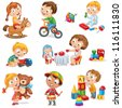 Children play with toys. Little girl riding a wooden horse, hugging a teddy bear, plays with a doll, boy sitting on a tricycle, playing with a toy car, bangs the drum, builds a house from cubes. Set - stock photo