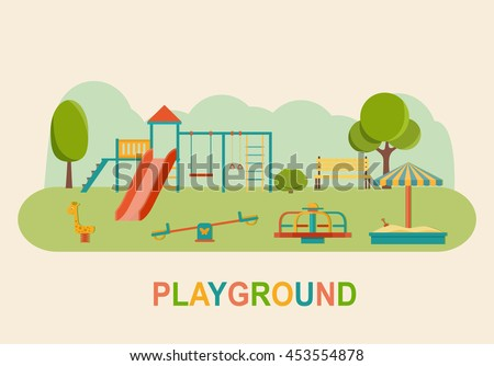 Children playground. Kindergarten playground with swings, slide,  toy giraffe, carousel, sandbox. Flat vector illustration - stock vector