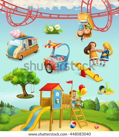 Children playground, outdoor games in the park, characters and objects set of vector icons - stock vector