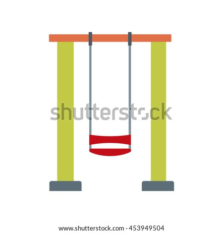 Children Playground with swings. Place for children play in yard. Children Playground equipment drawn in flat style vector. Children Playground. Kids playground. Playground cartoon game landscape. - stock vector