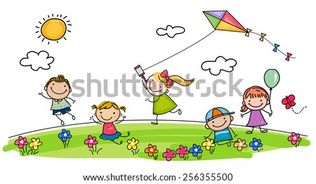 Children playing - stock vector