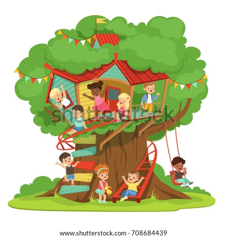 Children playing having fun treehouse kids stock vector for Colorful tree house