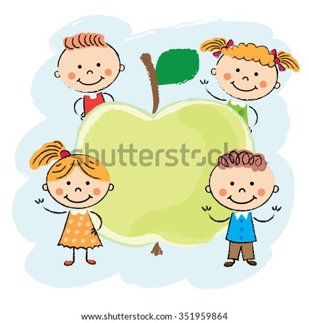 Children playing around fruits. Vector design. Background - stock vector
