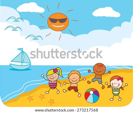 Children Playing at beach - stock vector
