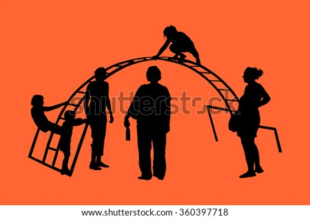 Children Playing at Playground Park Outdoor vector silhouette isolated on background. Mothers with children on playground. - stock vector