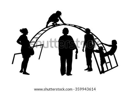 Children Playing at Playground Park Outdoor vector silhouette isolated on white background. Mothers with children on playground. - stock vector