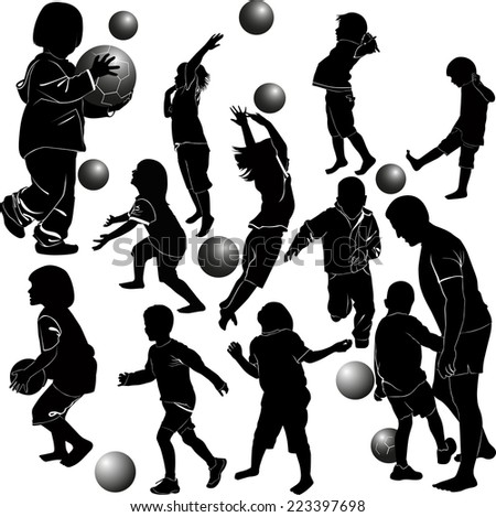 children playing ball - stock vector