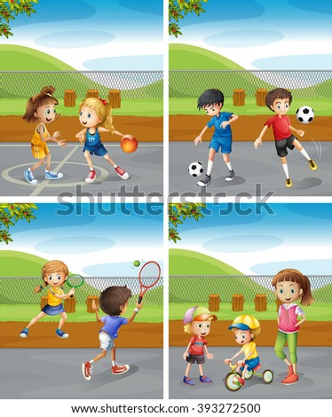Children playing different sports in the park illustration - stock vector