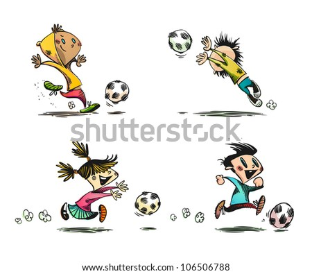 Children playing Football, Soccer and other Ball Games | EPS8 Vector Set | No Transparency | Layers Organized and Named - stock vector