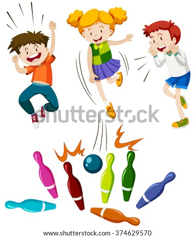 Children playing game of bowling illustration - stock vector
