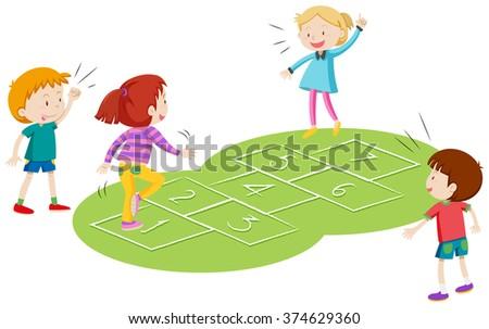 Children playing hopscoth together illustration - stock vector