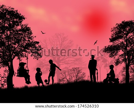 Children playing in a park on beautiful place, vector illustration - stock vector