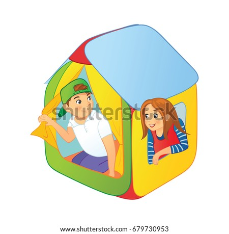 Children playing in a tent boy and girl looking out of kids tent  sc 1 st  Shutterstock & Children Playing Tent Boy Girl Looking Stock Vector 679730953 ...