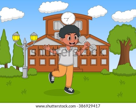 Children playing in front of their school cartoon vector