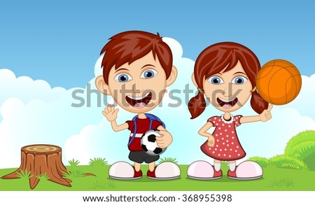 Children playing in the park cartoon vector illustration - stock vector