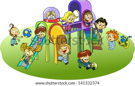 children playing in the playground - stock vector