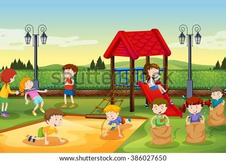 Children playing in the playground illustration - stock vector