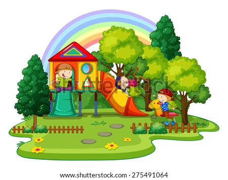 Children playing in the playground outside - stock vector