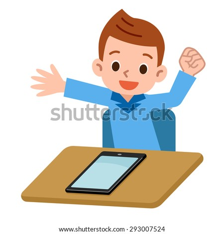 Children playing in the tablet PC - stock vector