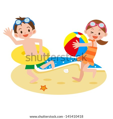 Children playing on the beach - stock vector