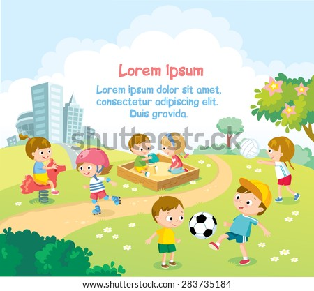 children playing outdoors with bright summer background - stock vector