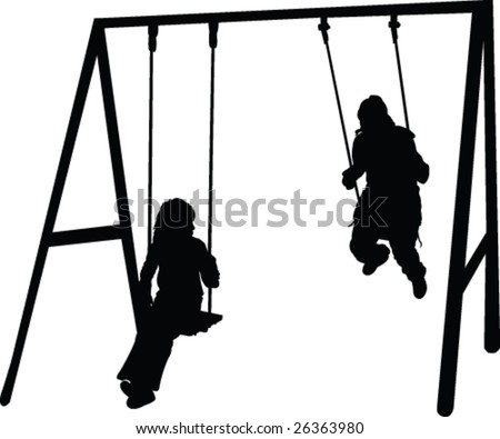children playing silhouette - vector