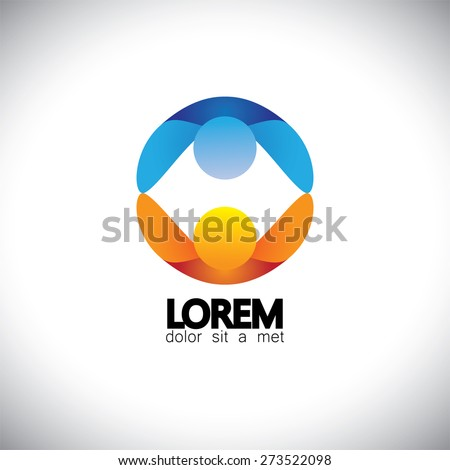 children playing together holding hands - vector logo icon. this icon can also represent friends together, empathy, compassion, commitment - stock vector