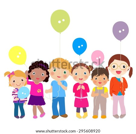 children playing with balloons - stock vector