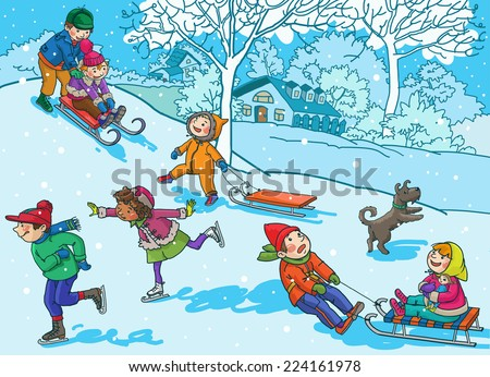 Children playing with snow. Christmas season. Winter activities. Isolated objects on Snow Winter background. Great illustration for school books and more. VECTOR. - stock vector