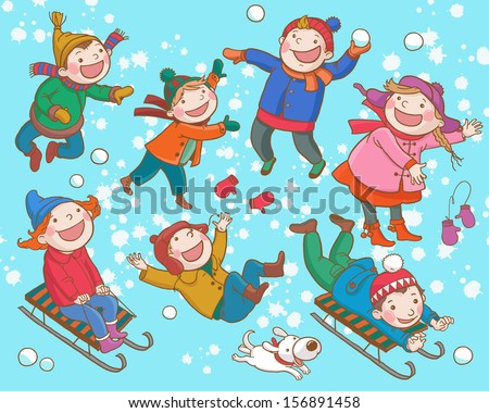 Children playing with Snow. Winter activities. Isolated objects on Snow Winter  background. Great illustration for school books and more. VECTOR. - stock vector