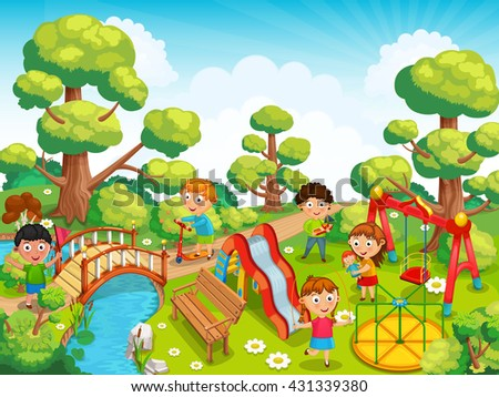 Children playing with toys on the playground in the park. On the playground there are slide, swing and a carousel.Vector illustration - stock vector