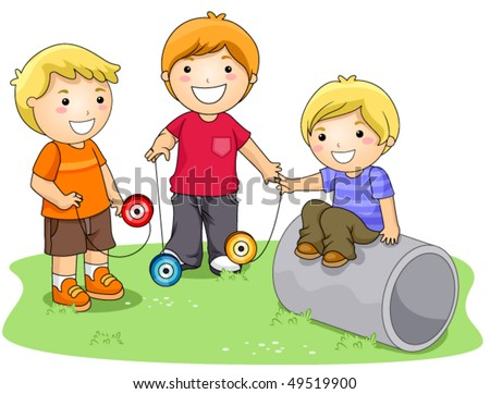 Children playing with Yo-yo in the Park - Vector - stock vector